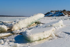 Debacle river in the spring. Floating of ice Volga river in Russian, Chuvash Stock Image