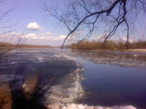 Debacle on the river. In spring with trees and clouds Royalty Free Stock Photography