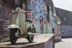 Moped on Industrial Background Royalty Free Stock Photos