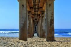 Debaixo do cais na praia dourada da milha, Durban, África do Sul Fotografia de Stock Royalty Free