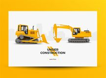 Debajo de bandera del web del sitio web de la construcción Ejemplo diseñado moderno del vector Foto de archivo libre de regalías