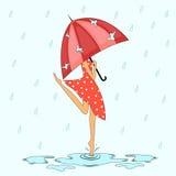 Debajo de la lluvia Imágenes de archivo libres de regalías