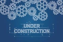 Debajo de modelo de la construcción el concepto bosquejó el dibujo con los engranajes Imagen de archivo