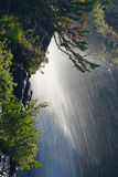 Debajo de una cascada en Parque Nacional Glacier Fotografía de archivo
