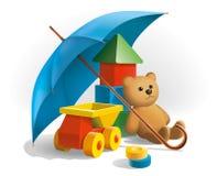 Debajo del paraguas ilustración del vector