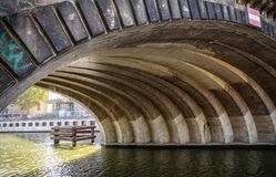 Debajo del puente de Friedrichs, monumento protegido, Friedrichsbrucke, en el río de la diversión en Berlín imagen de archivo