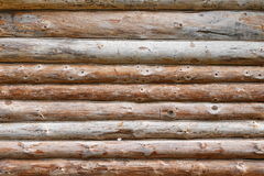 Debarked Rough Log Cabin Wall Horizontal Background Royalty Free Stock Photo