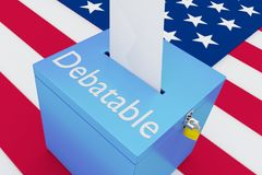 Debatable - political concept. 3D illustration of Debatable script on a ballot box, with US flag as a background Stock Image