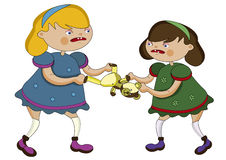 Debate. Two funny little girl and only one toy Royalty Free Stock Images