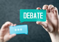 Debate, argument, controversy and disputation concept. Learning to be better speaker. Education to improve dialog. Tell opinions and thoughts in public. Hands Royalty Free Stock Images