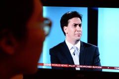 Debate BRITÂNICO da tevê da eleição Fotografia de Stock Royalty Free