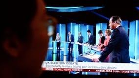 Debate BRITÂNICO da tevê da eleição Imagens de Stock