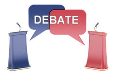 Debate concept with microphones and tribunes, 3D rendering Stock Photo