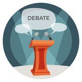 Debate poster with microphones and opinions on vector illustration. Debate poster with microphones, tribune important place for orator, icons of opinions forms Royalty Free Stock Photography