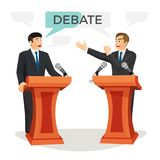 Debate poster with two politicians on vector illustration Royalty Free Stock Photography