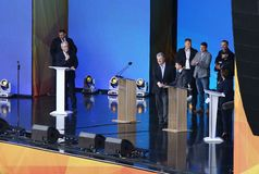 Debate presidencial ucraniano em Kyiv imagem de stock