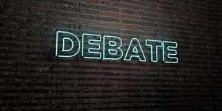 DEBATE -Realistic Neon Sign on Brick Wall background - 3D rendered royalty free stock image Royalty Free Stock Photos