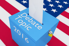 Debate Topic 2016 election concept. 3D illustration of Debate Topic, 2016 scripts and on ballot box, with US flag as a background. Election Concept Stock Images