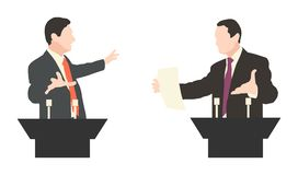 Debate two speakers. Political speeches debates Royalty Free Stock Photography