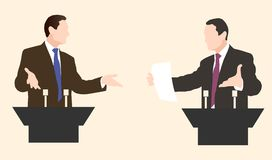 Debate two speakers. Political speeches debates. Debate two speakers. Political speeches, debates, rhetoric. Broad and expressive hand gestures stock illustration
