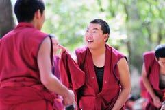 Debatendo monges em Tibet Imagens de Stock