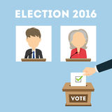 Debates on election. Russia October. 17, 2016. Debates on election. Two speaker on tribunes. Vote ballot box. Concept of voting, balloting. Election campaign stock illustration
