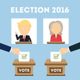 Debates on election. Russia October. 10, 2016. Debates on election. Two speaker on tribunes. Vote ballot box. Concept of voting, ellection and balloting vector illustration