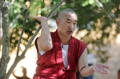 Debating monk in Tibet Royalty Free Stock Photography