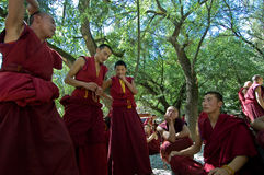 Debating Monks. Tibetan monks at Sera monastery debating in the courtyard royalty free stock photography
