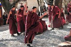 Debating monks in Tibet Royalty Free Stock Images