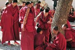 Debating monks in Tibet Stock Photos