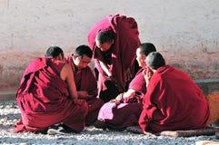Debating monks in Tibet Royalty Free Stock Photography