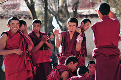 Debating monks in Tibet Stock Image