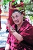 Debating monks in Tibet. Tibetan monks at Sera monastery debating in the courtyard Stock Photography