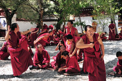 Debating monks in Tibet Stock Images