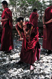 Debating monks in Tibet Stock Photography