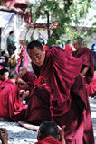 Debating monks in Tibet Royalty Free Stock Photo
