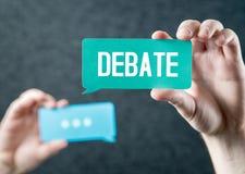 Debatt-, argument-, tvist- och disputationbegrepp royaltyfria bilder