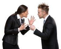 Debatt för två affärspersoner Arkivbild