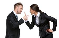Debatte mit zwei Wirtschaftlern Stockfotos