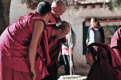 debattera monks tibet Arkivbild