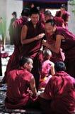 debattera monks tibet Royaltyfria Bilder