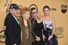 Debbie Reynolds u. Carrie Fisher u. Todd Fisher u. Billie Lourd lizenzfreie stockfotos