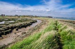 Deben bred flodmynning, Suffolk England Arkivfoton