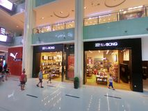 Debenhams, Billabong and Puma Shops at Dubai Mall - Interior View of the Worlds Largest Shopping Mall stock photo