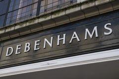 Debenhams-Kaufhaus-Zeichen Stockbild