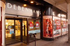 Debenhams Nottingham on Boxing Day sales showing sales posters. Royalty Free Stock Photos