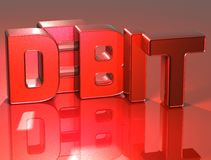 Debet des Wort-3D auf rotem Hintergrund Lizenzfreie Stockbilder
