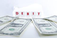 DEBET I pieniądze Zdjęcia Stock