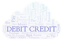 Debet-Kreditwortwolke lizenzfreie abbildung